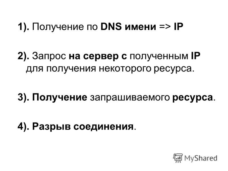 1). Получение по DNS имени => IP 2). Запрос на сервер с полученным IP для получения некоторого ресурса. 3). Получение запрашиваемого ресурса. 4). Разрыв соединения.