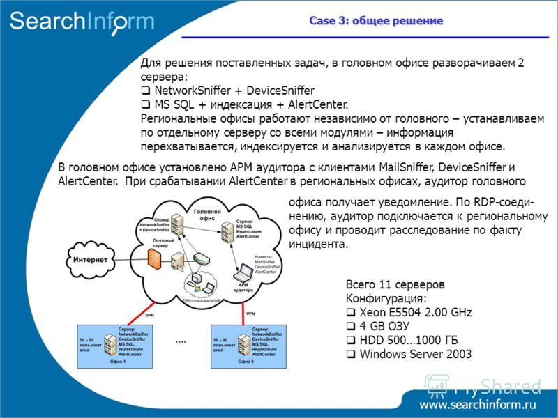 www.searchinform.ru Case 3: общее решение Для решения поставленных задач, в головном офисе разворачиваем 2 сервера: NetworkSniffer + DeviceSniffer MS SQL + индексация + AlertCenter. Региональные офисы работают независимо от головного – устанавливаем