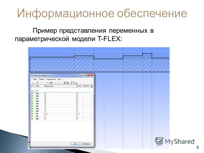 Пример представления переменных в параметрической модели T-FLEX: 8