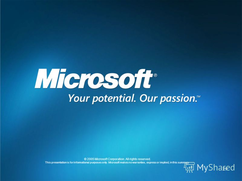 29 © 2005 Microsoft Corporation. All rights reserved. This presentation is for informational purposes only. Microsoft makes no warranties, express or implied, in this summary.