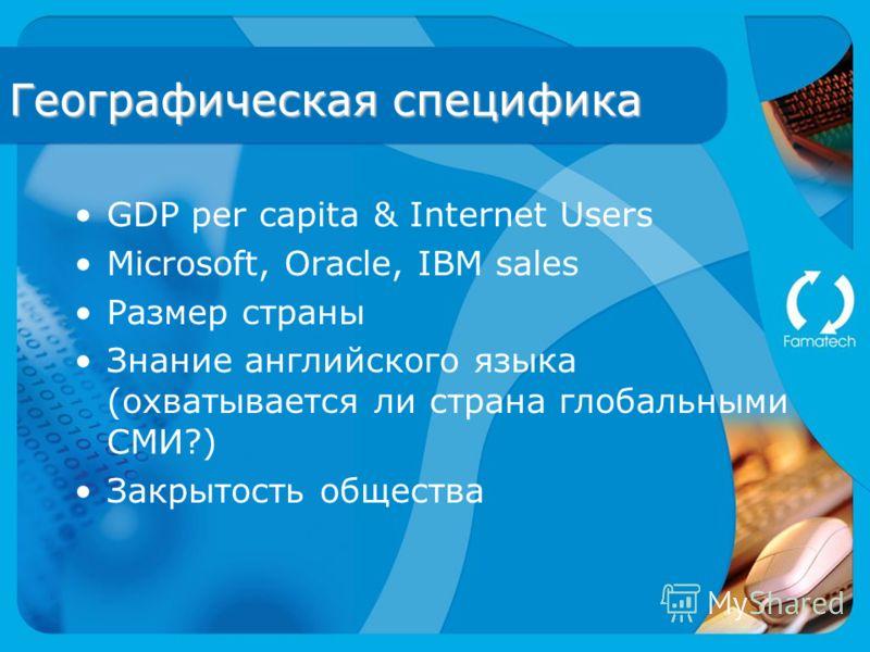 Географическая специфика GDP per capita & Internet Users Microsoft, Oracle, IBM sales Размер страны Знание английского языка (охватывается ли страна глобальными СМИ?) Закрытость общества