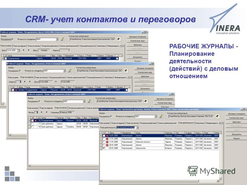 21 CRM- учет контактов и переговоров РАБОЧИЕ ЖУРНАЛЫ - Планирование деятельности (действий) с деловым отношением