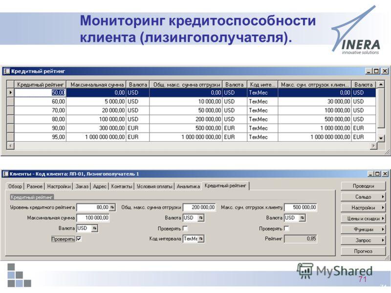 71 Мониторинг кредитоспособности клиента (лизингополучателя).