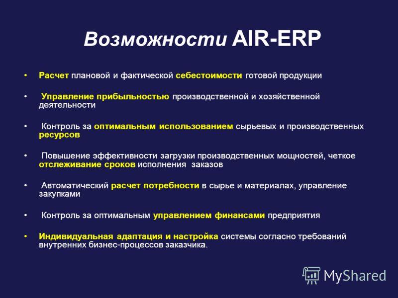 Возможности AIR-ERP Расчет плановой и фактической себестоимости готовой продукции Управление прибыльностью производственной и хозяйственной деятельности Контроль за оптимальным использованием сырьевых и производственных ресурсов Повышение эффективнос
