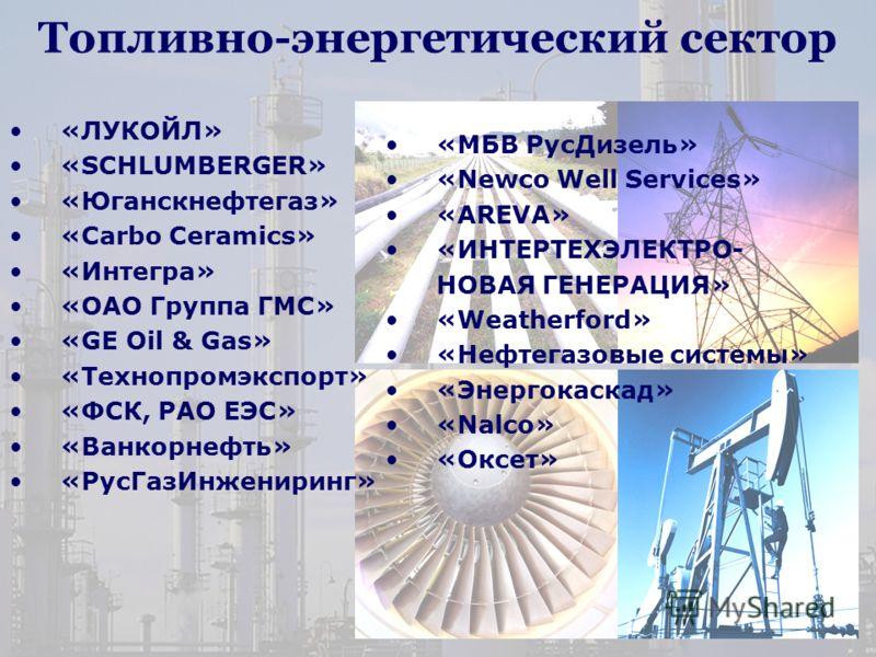 Топливно-энергетический сектор «ЛУКОЙЛ» «SСHLUMBERGER» «Юганскнефтегаз» «Carbo Ceramics» «Интегра» «ОАО Группа ГМС» «GE Oil & Gas» «Технопромэкспорт» «ФСК, РАО ЕЭС» «Ванкорнефть» «РусГазИнжениринг» «МБВ РусДизель» «Newco Well Services» «AREVA» «ИНТЕР