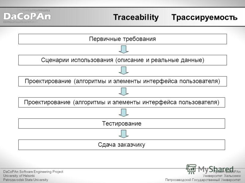 Traceability DaCoPAn Software Engineering Project University of Helsinki Petrozavodsk State University Проект DaCoPAn Университет Хельсинки Петрозаводский Государственный Университет Трассируемость Первичные требования Сценарии использования (описани