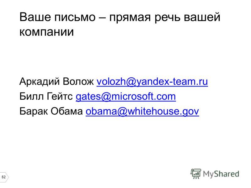 52 Ваше письмо – прямая речь вашей компании Аркадий Волож volozh@yandex-team.ruvolozh@yandex-team.ru Билл Гейтс gates@microsoft.comgates@microsoft.com Барак Обама obama@whitehouse.govobama@whitehouse.gov