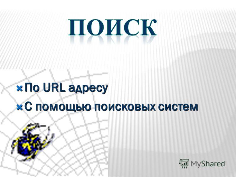 По URL адресу По URL адресу С помощью поисковых систем С помощью поисковых систем