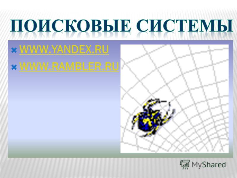 WWW.YANDEX.RU WWW.RAMBLER.RU