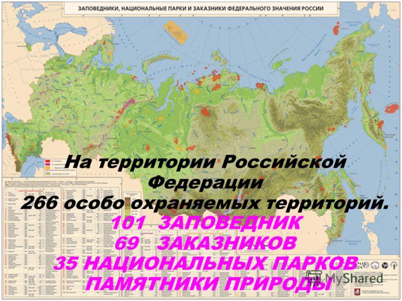 На территории Российской Федерации 266 особо охраняемых территорий. 101 ЗАПОВЕДНИК 69 ЗАКАЗНИКОВ 35 НАЦИОНАЛЬНЫХ ПАРКОВ ПАМЯТНИКИ ПРИРОДЫ