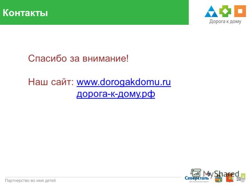Контакты Спасибо за внимание! Наш сайт: www.dorogakdomu.ruwww.dorogakdomu.ru дорога-к-дому.рф