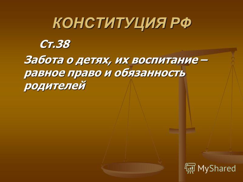 КОНСТИТУЦИЯ РФ Ст.38 Ст.38 Забота о детях, их воспитание – равное право и обязанность родителей