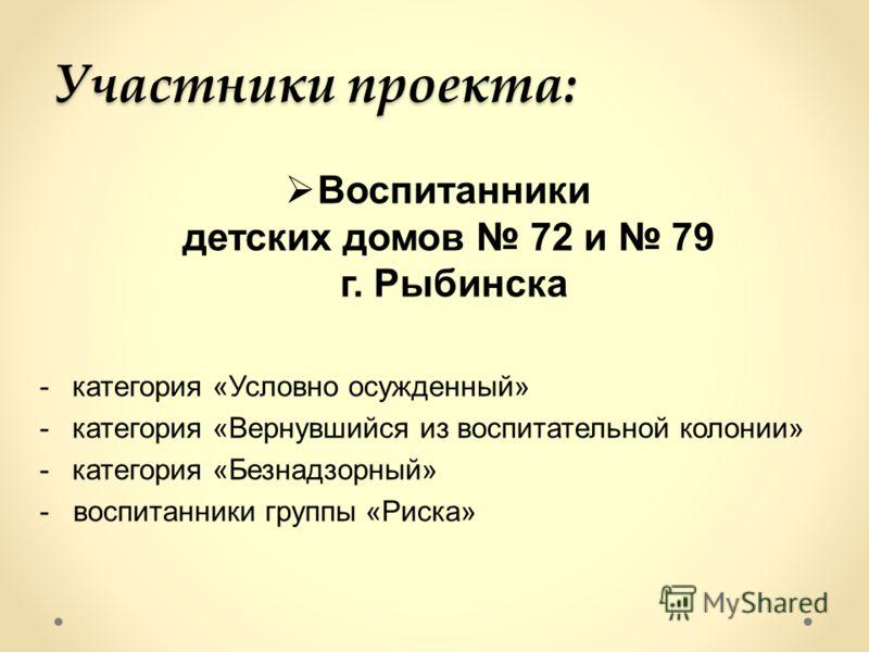 Участники проекта: Воспитанники детских домов 72 и 79 г. Рыбинска -категория «Условно осужденный» -категория «Вернувшийся из воспитательной колонии» -категория «Безнадзорный» - воспитанники группы «Риска»