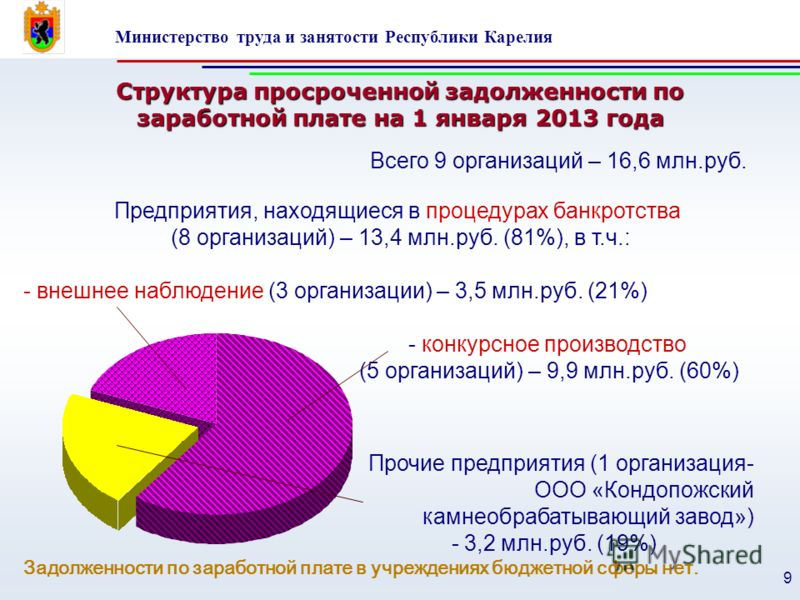 Министерство труда и занятости Республики Карелия 9 Структура просроченной задолженности по заработной плате на 1 января 2013 года Прочие предприятия (1 организация- ООО «Кондопожский камнеобрабатывающий завод») - 3,2 млн.руб. (19%) Задолженности по