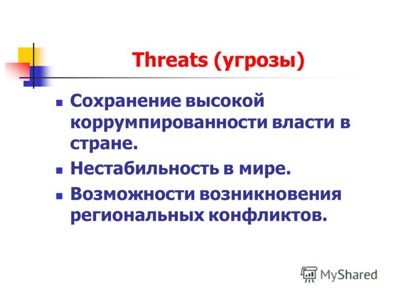 Threats (угрозы) Сохранение высокой коррумпированности власти в стране. Нестабильность в мире. Возможности возникновения региональных конфликтов.