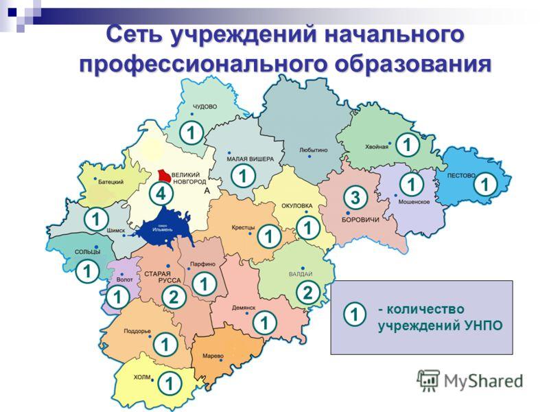 Сеть учреждений начального профессионального образования 2 1 1 1 1 1 2 4 1 1 1 1 1 1 1 1 3 1 - количество учреждений УНПО 1