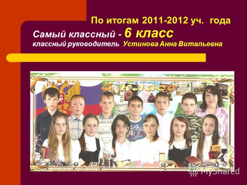 По итогам 2011-2012 уч. года Самый классный - 6 класс классный руководитель Устинова Анна Витальевна