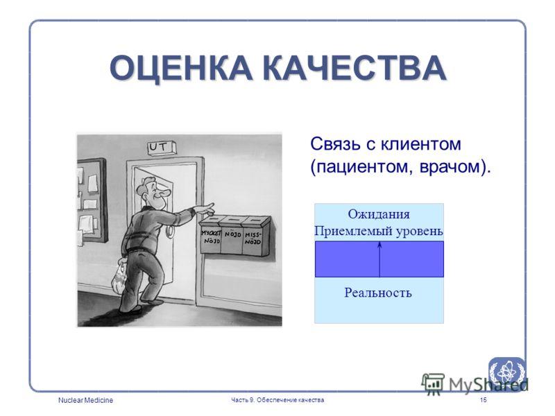 Nuclear Medicine Часть 9. Обеспечение качества15 ОЦЕНКА КАЧЕСТВА Связь с клиентом (пациентом, врачом). Ожидания Приемлемый уровень Реальность