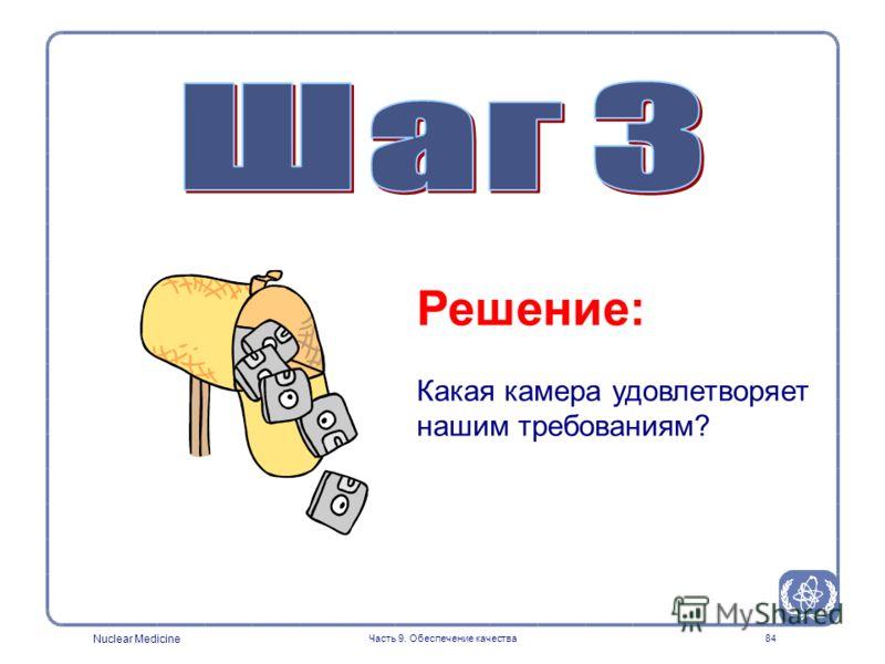 Nuclear Medicine Часть 9. Обеспечение качества84 Решение: Какая камера удовлетворяет нашим требованиям?