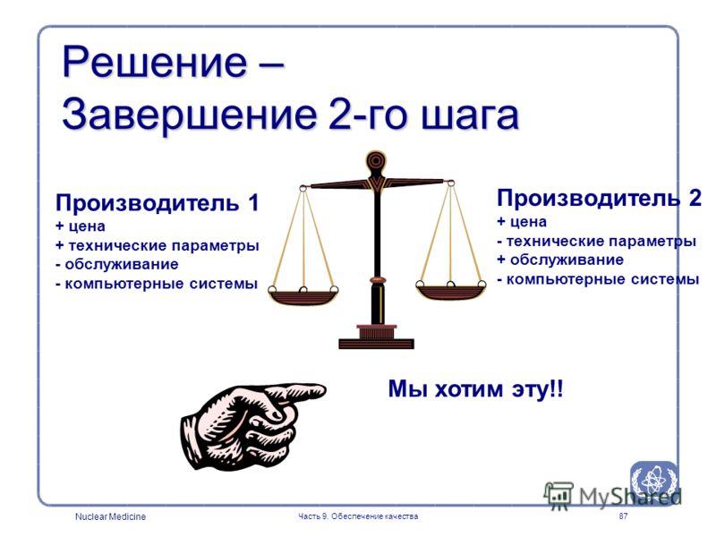 Nuclear Medicine Часть 9. Обеспечение качества87 Решение – Завершение 2-го шага Производитель 1 + цена + технические параметры - обслуживание - компьютерные системы Производитель 2 + цена - технические параметры + обслуживание - компьютерные системы