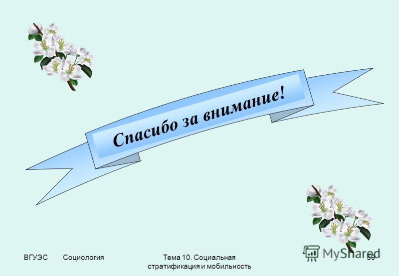 ВГУЭС СоциологияТема 10. Социальная стратификация и мобильность 59 Спасибо за внимание!