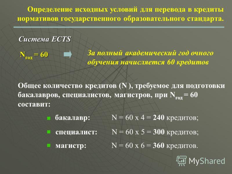 Определение исходных условий для перевода в кредиты нормативов государственного образовательного стандарта. Система ECTS N год = 60 За полный академический год очного обучения начисляется 60 кредитов Общее количество кредитов (N ), требуемое для подг