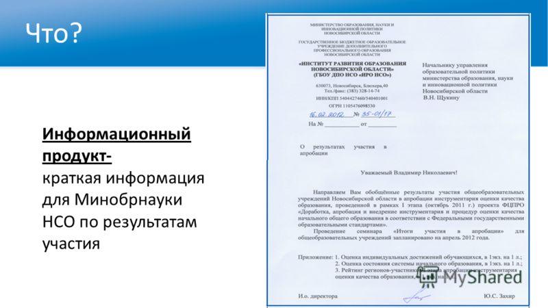 Что? Информационный продукт- краткая информация для Минобрнауки НСО по результатам участия