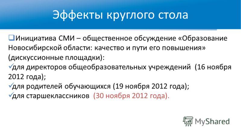Инициатива СМИ – общественное обсуждение «Образование Новосибирской области: качество и пути его повышения» (дискуссионные площадки): для директоров общеобразовательных учреждений (16 ноября 2012 года); для родителей обучающихся (19 ноября 2012 года)