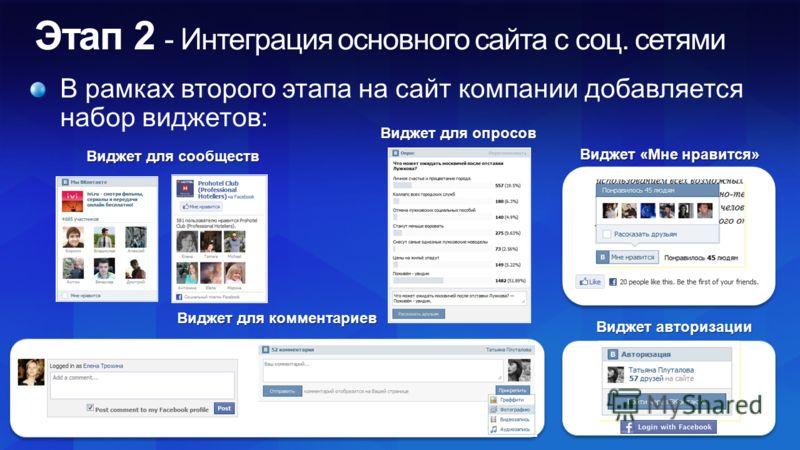 Виджет для опросов Виджет для комментариев Виджет для сообществ Виджет «Мне нравится» Виджет авторизации