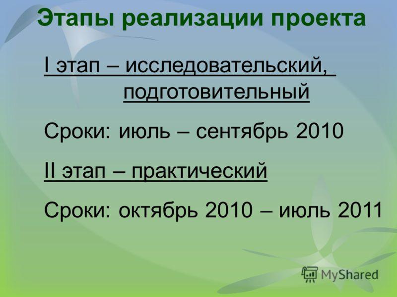 Этапы реализации проекта I этап – исследовательский, подготовительный Сроки: июль – сентябрь 2010 II этап – практический Сроки: октябрь 2010 – июль 2011