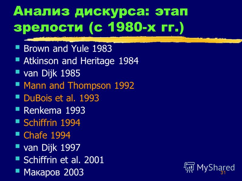 31 Анализ дискурса: этап зрелости (с 1980-х гг.) Brown and Yule 1983 Atkinson and Heritage 1984 van Dijk 1985 Mann and Thompson 1992 DuBois et al. 1993 Renkema 1993 Schiffrin 1994 Chafe 1994 van Dijk 1997 Schiffrin et al. 2001 Макаров 2003