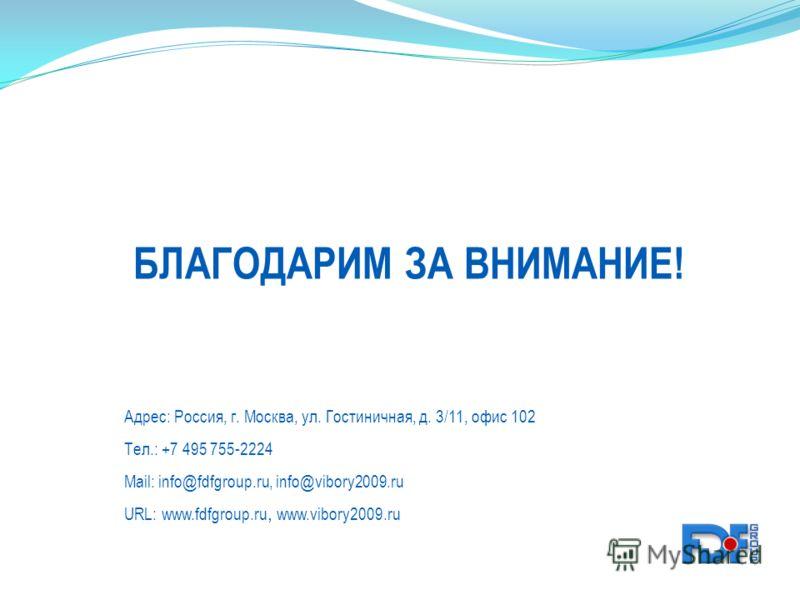 Адрес: Россия, г. Москва, ул. Гостиничная, д. 3/11, офис 102 Тел.: +7 495 755-2224 Mail: info@fdfgroup.ru, info@vibory2009.ru URL: www.fdfgroup.ru, www.vibory2009.ru БЛАГОДАРИМ ЗА ВНИМАНИЕ!