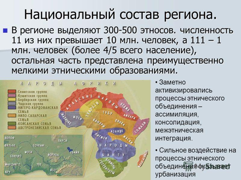 Национальный состав региона. В регионе выделяют 300-500 этносов. численность 11 из них превышает 10 млн. человек, а 111 – 1 млн. человек (более 4/5 всего население), остальная часть представлена преимущественно мелкими этническими образованиями. В ре