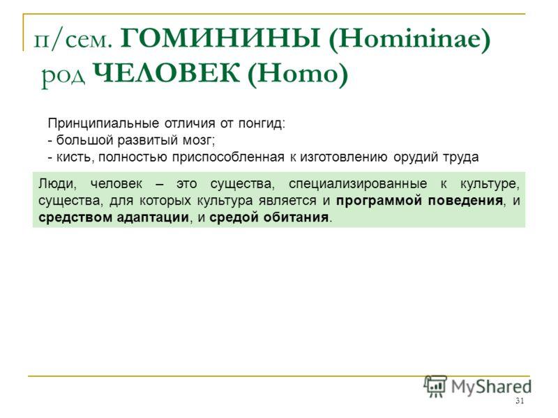 31 п/сем. ГОМИНИНЫ (Homininae) род ЧЕЛОВЕК (Homo) Принципиальные отличия от понгид: - большой развитый мозг; - кисть, полностью приспособленная к изготовлению орудий труда Люди, человек – это существа, специализированные к культуре, существа, для кот