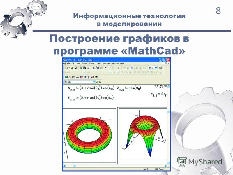 Информационные технологии в моделировании 8 Построение графиков в программе «MathCad»