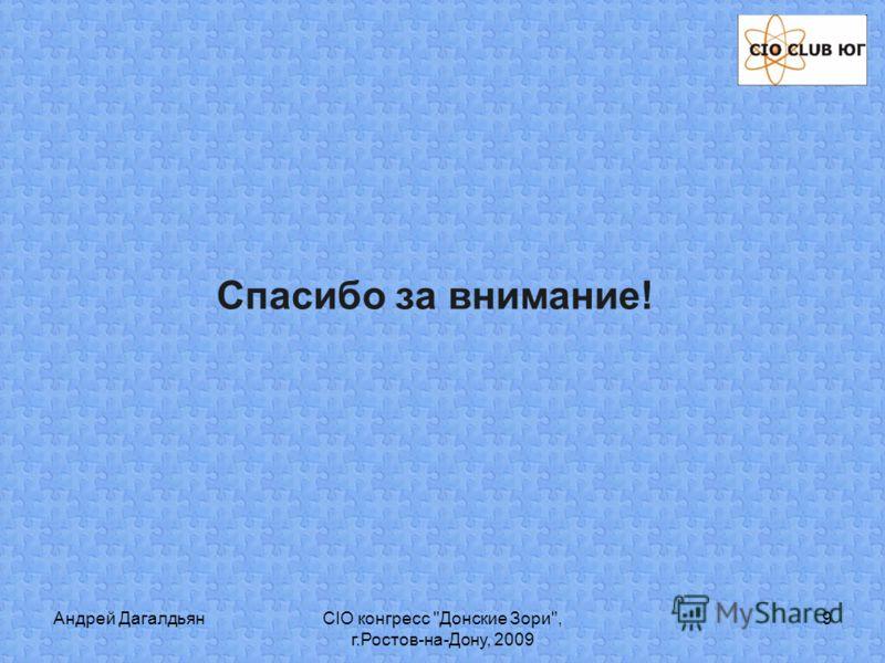 Андрей ДагалдьянСIO конгресс Донские Зори, г.Ростов-на-Дону, 2009 9 Спасибо за внимание!