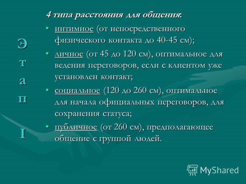 4 типа расстояния для общения: интимное (от непосредственного физического контакта до 40-45 см);интимное (от непосредственного физического контакта до 40-45 см); личное (от 45 до 120 см), оптимальное для ведения переговоров, если с клиентом уже устан