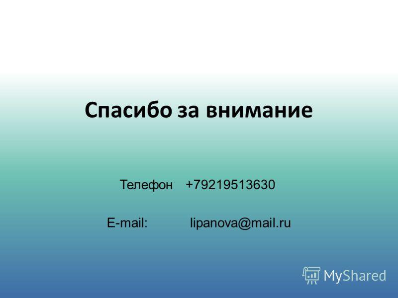 Телефон +79219513630 E-mail: lipanova@mail.ru Спасибо за внимание