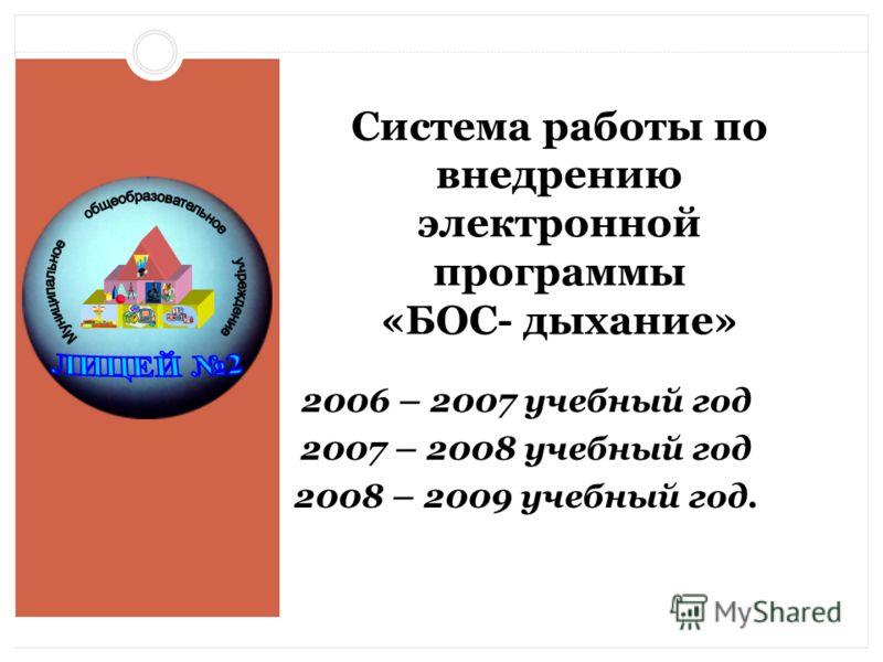 Система работы по внедрению электронной программы «БОС- дыхание» 2006 – 2007 учебный год 2007 – 2008 учебный год 2008 – 2009 учебный год.
