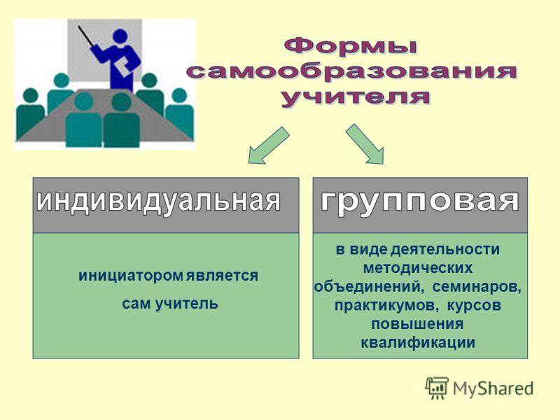 инициатором является сам учитель в виде деятельности методических объединений, семинаров, практикумов, курсов повышения квалификации