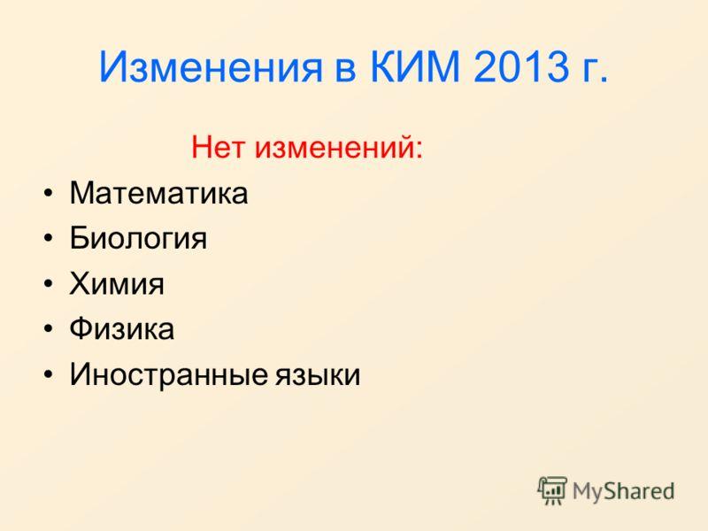 Изменения в КИМ 2013 г. Нет изменений: Математика Биология Химия Физика Иностранные языки