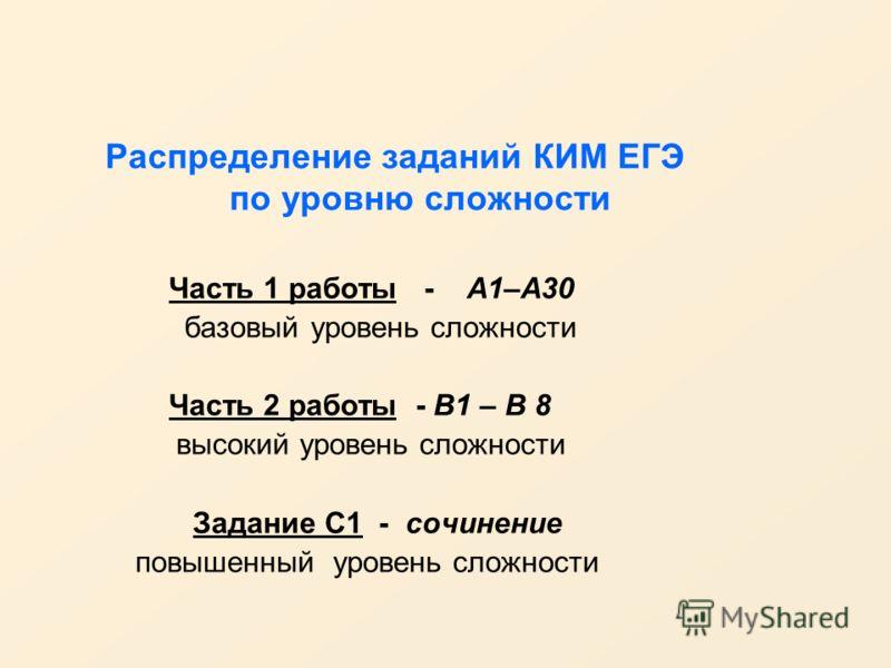 Распределение заданий КИМ ЕГЭ по уровню сложности Часть 1 работы - А1–А30 базовый уровень сложности Часть 2 работы - В1 – В 8 высокий уровень сложности Задание С1 - сочинение повышенный уровень сложности