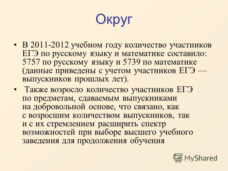 Округ В 2011-2012 учебном году количество участников ЕГЭ по русскому языку и математике составило: 5757 по русскому языку и 5739 по математике (данные приведены с учетом участников ЕГЭ выпускников прошлых лет). Также возросло количество участников ЕГ