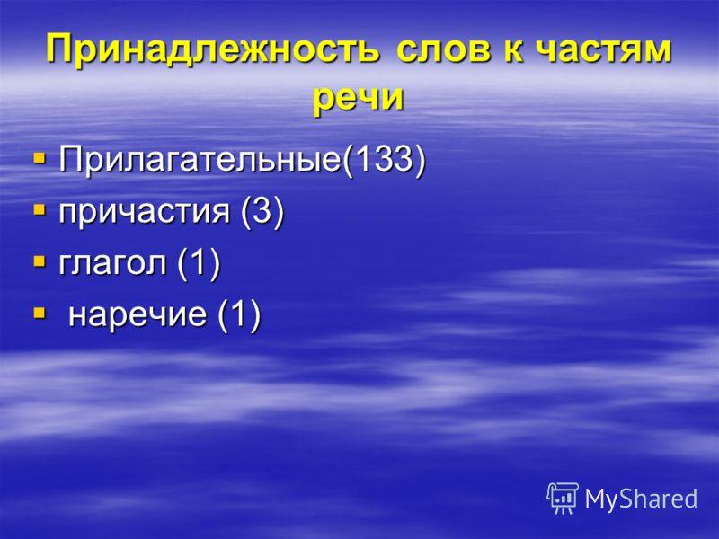 Принадлежность слов к частям речи Прилагательные(133) Прилагательные(133) причастия (3) причастия (3) глагол (1) глагол (1) наречие (1) наречие (1)