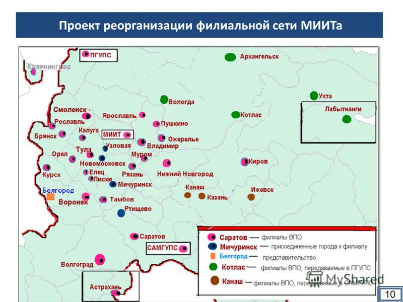 Проект реорганизации филиальной сети МИИТа 10