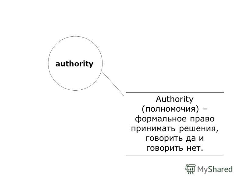 authority Authority (полномочия) – формальное право принимать решения, говорить да и говорить нет.