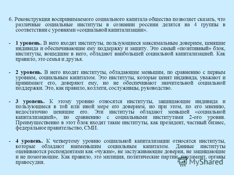 6. Реконструкция воспринимаемого социального капитала общества позволяет сказать, что различные социальные институты в сознании россиян делятся на 4 группы в соответствии с уровнями «социальной капитализации». -1 уровень. В него входят институты, пол