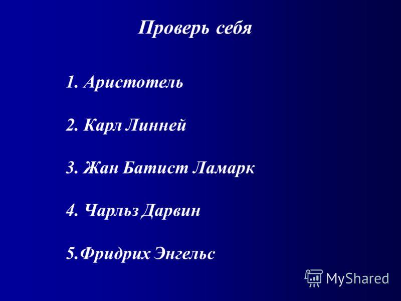 Проверь себя 1. Аристотель 2. Карл Линней 3. Жан Батист Ламарк 4. Чарльз Дарвин 5.Фридрих Энгельс