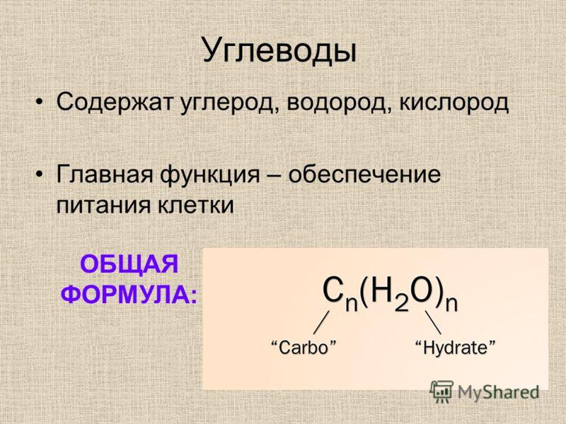 Углеводы Содержат углерод, водород, кислород Главная функция – обеспечение питания клетки ОБЩАЯ ФОРМУЛА: