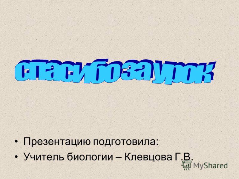 Презентацию подготовила: Учитель биологии – Клевцова Г.В.